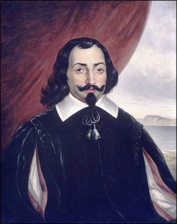 Oil portrait of a man with long hair and a goatee dressed in black and wearing a white collar, in front of a red curtain