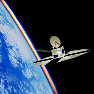Image of a space observatory in orbit around Earth with panels deployed and its antenna and a green light beam pointing towards Earth.