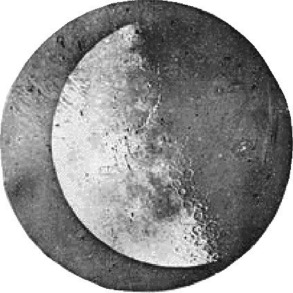 Circular black and white daguerreotype of the left side of the moon with circles on the lunar surface