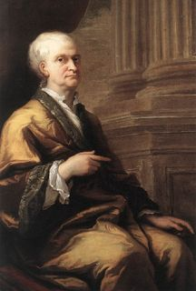 Painted portrait of a man with white hair seated in profile with a raised hand and pointing index finger