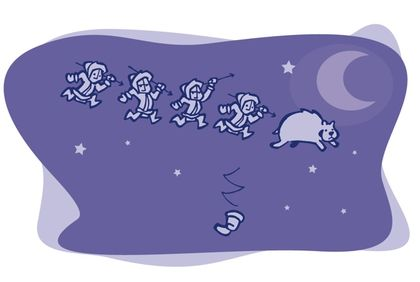 Drawing against a purple background of four Inuit chasing a bear in the starry sky with a moon