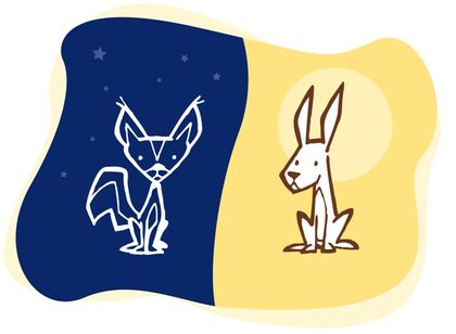 Drawing against a blue background of a fox representing nighttime beside a hare  representing daytime against a yellow background