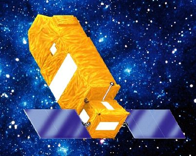 Image of a rectangular yellow telescope with square solar panels installed at one end on each side, deployed in orbit in a star-filled blue sky.
